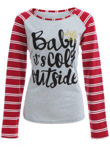 Striped Raglan Sleeve Christmas Tee - Gray And Red Xl