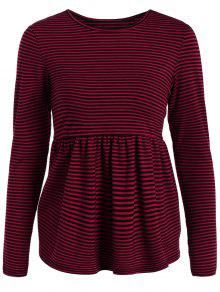 Striped Long Sleeve Smock T-Shirt - Red M