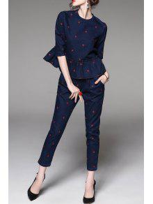 Pantalones Pitillo De Algodón Superior Con Peplum - Azul Purpúreo Xl