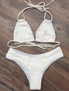 Self Tie Plunge Bikini - Crystal Cream M
