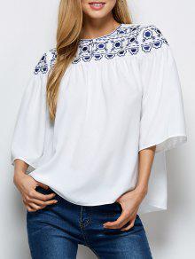 Retro Embroidery Jewel Neck Swing Blouse - White L