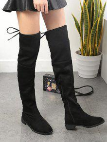 5539976d7c63 40% OFF  2019 Suede Flat Heel Thigh High Boots In BLACK