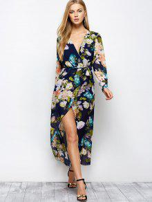 cb619a42bdbb 24% OFF] 2019 Long Sleeve Floral Maxi Dress With Slit In FLORAL   ZAFUL