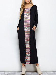 Batwing Sleeve Tribal Print Maxi Dress With Pocket - Black S