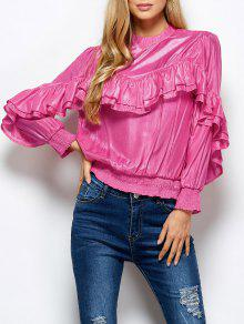 Stand Neck Ruffles Blouse - Pink S