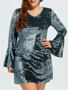 Belled Sleeve Plus Size Velvet Dress - Green L