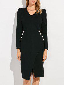 طويلة الأكمام مقدمة الانقسام رسمي V فستان الرقبة - أسود S