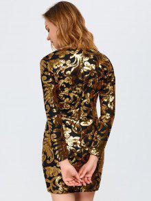 e3e68165 30% OFF] 2019 Long Sleeve Sequined Sparkly Dress In GOLDEN | ZAFUL
