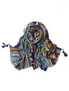 Elephant Pattern Tassel Scarf - Blue