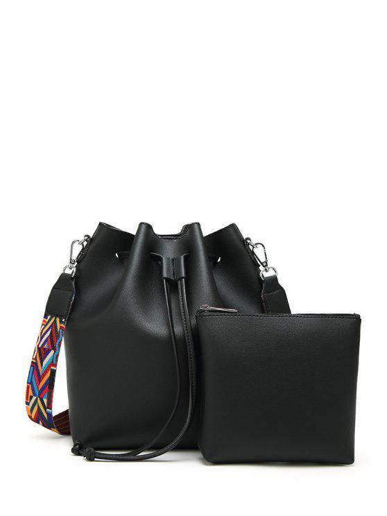 women's Drawstring Bucket Bag With Coin Purse - BLACK