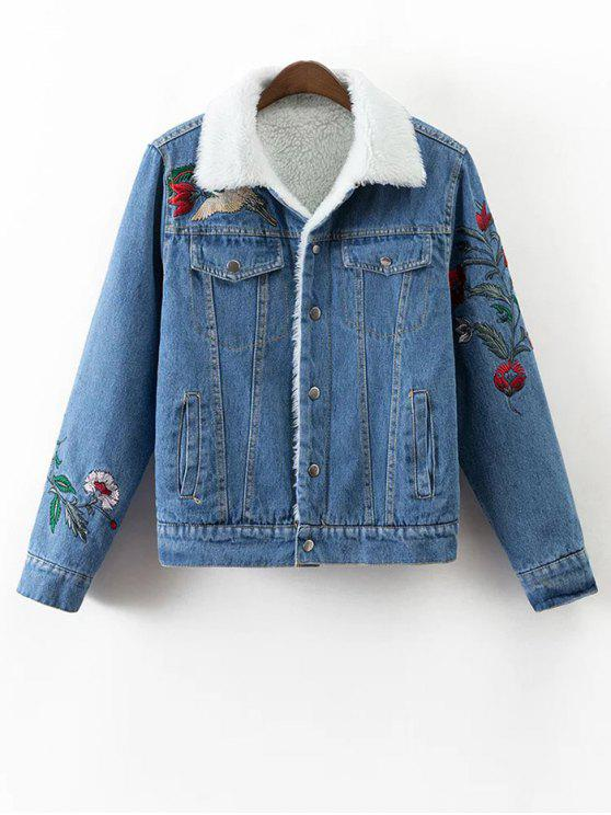 lady Faux Shearling Floral Embroidered Jean Coat - DENIM BLUE L