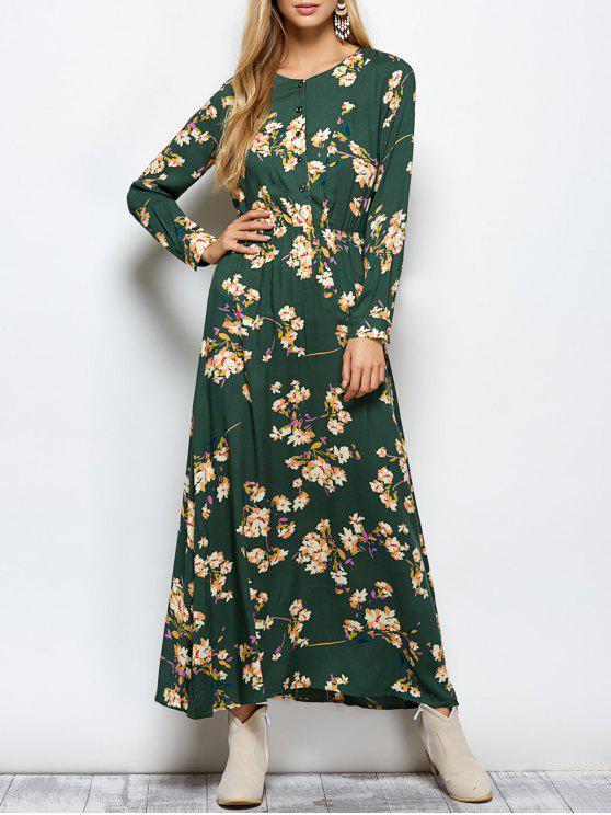 womens Long Sleeves Maxi Floral Dress - GREEN M