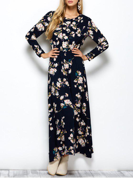 a03eabe15131c فستان طباعة الأزهار ماكسي طويلة الأكمام - طالبا الأزرق S