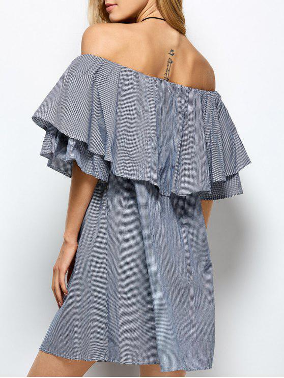best Checked Off The Shoulder Ruffle Dress - BLUE AND WHITE M