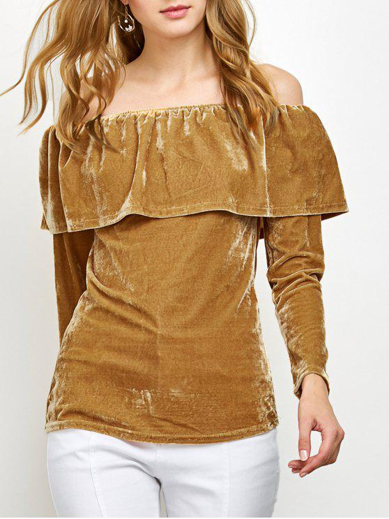 women Velvet Off Shoulder Ruffles T-Shirt - GINGER XL