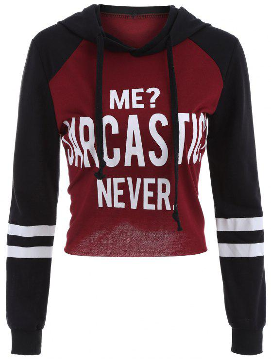 latest Raw Cut Raglan Sleeve Cropped Hoodie - RED WITH BLACK S