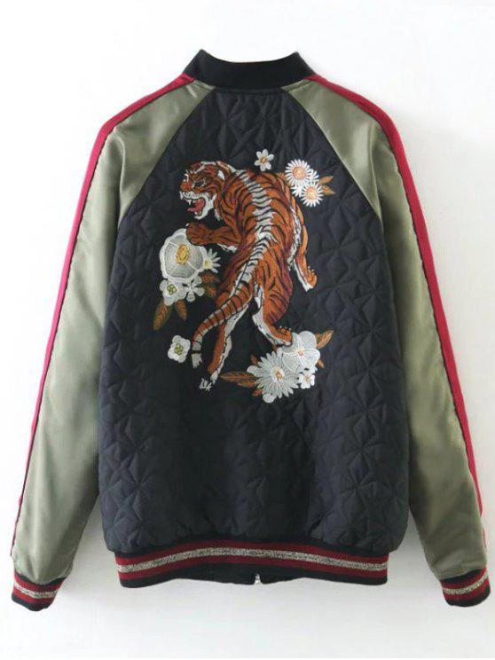188af7e3ef Tiger Embroidered Souvenir Baseball Jacket BLACK