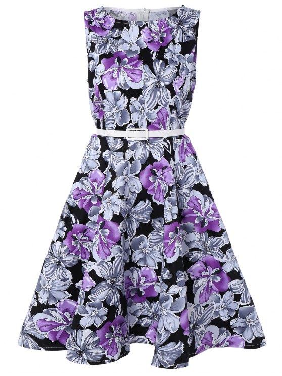 فستان كلاسيكي طباعة الأزهار - أرجواني 2XL