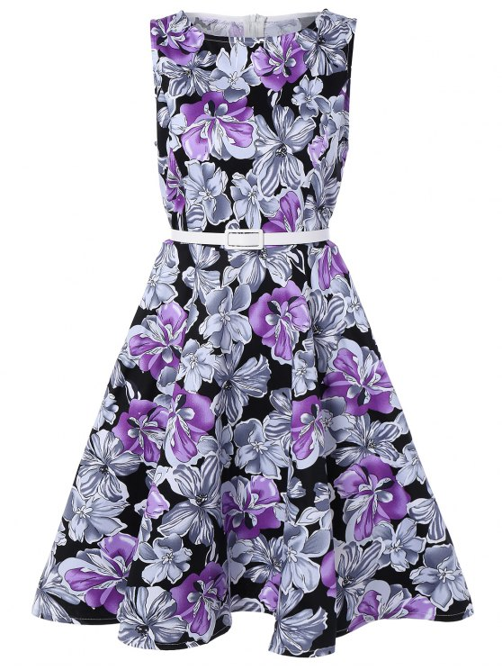 trendy Sleeveless Floral Print A Line Swing Vintage Dress - PURPLE L