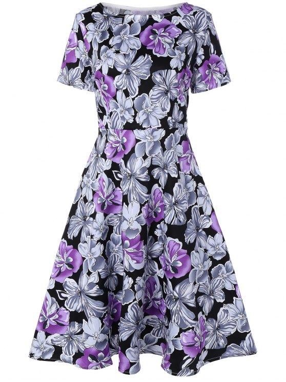 فستان سوينغ طباعة الأزهار - أرجواني 2XL