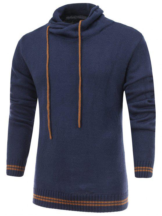 Suéter de Tricô Com Capuz de Cordão Punho e Barra Com Listras - Azul Escuro S
