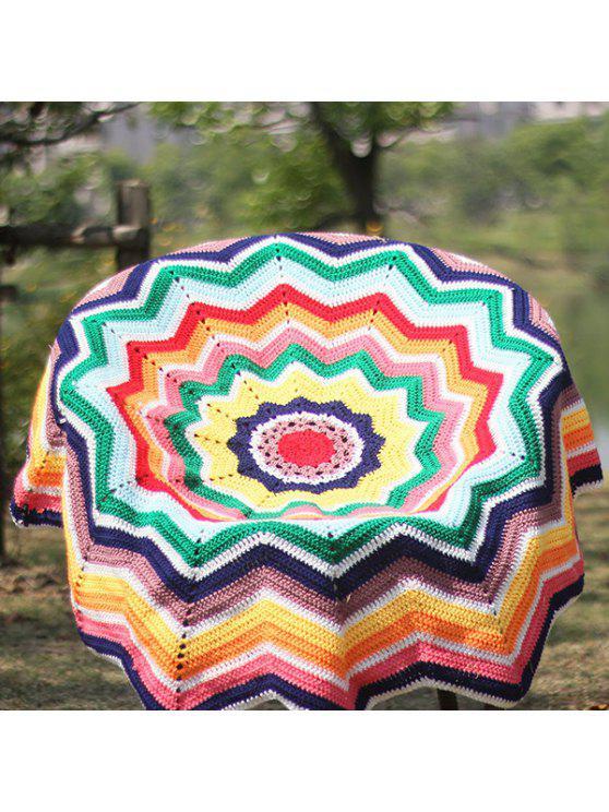 الملونة شيفرون موجة قص الكروشيه الحياكة جولة رمي بطانية - Colormix
