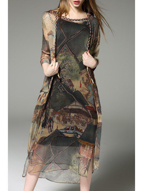 Cardigã Estampado com Vestido Tanque e Camiseta Regata - Cor Mistura 2XL