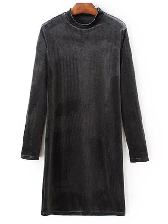 Vestido de Veludo Manga Longa Gola Alta - Cinzento L