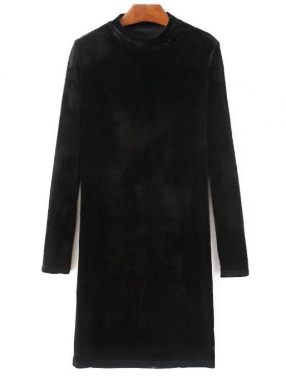 Medio Cuello del vestido largo de terciopelo mangas - Negro L