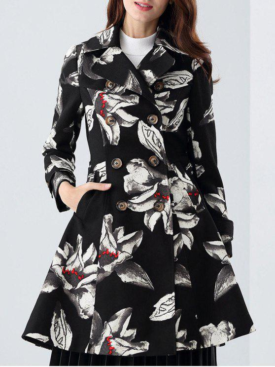 best Skirted Floral Trench Coat - BLACK S