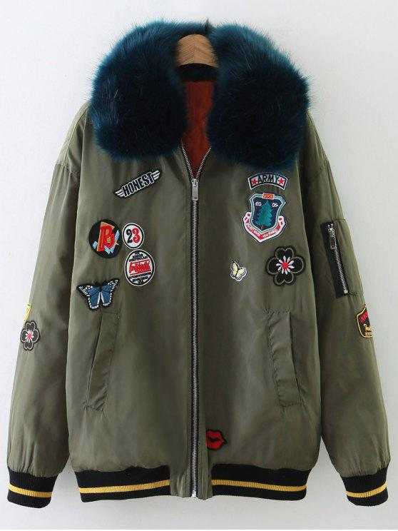 shop Patch Design Fur Collar Padded Bomber Jacket - ARMY GREEN M
