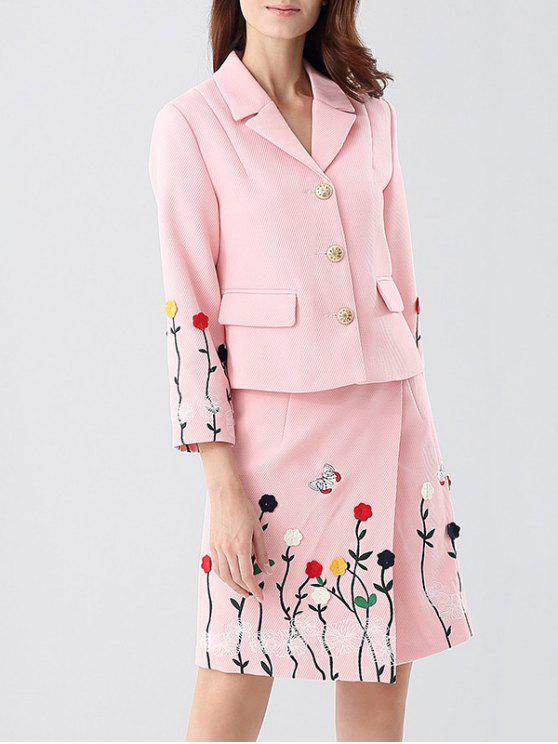 fancy Embroidered Jacket and Asymmetric Wrap Skirt - PINK XL