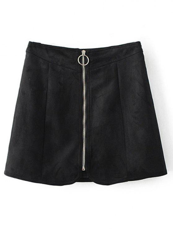 chic Zippered Suede Mini Skirt - BLACK S