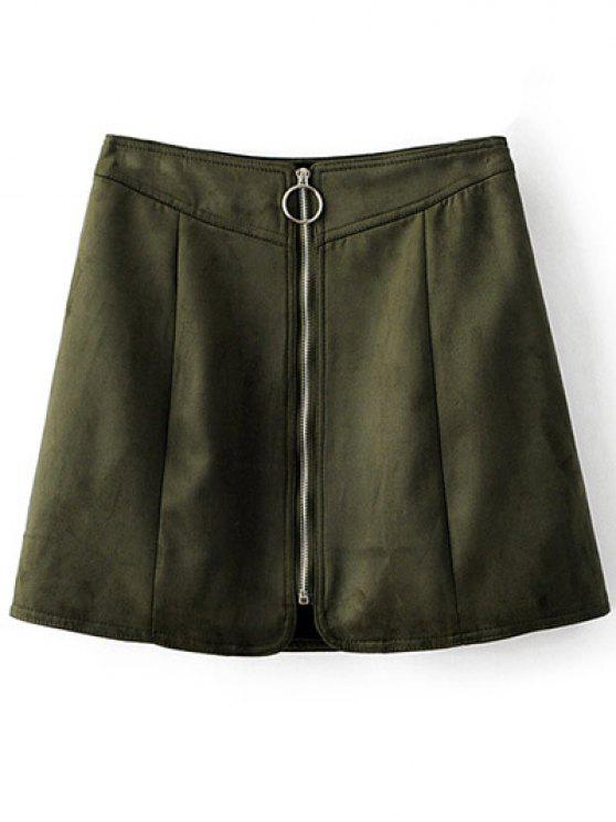 buy Zippered Suede Mini Skirt - ARMY GREEN S