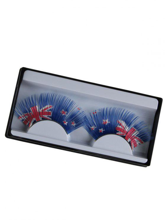 lady New Zealand Flag False Eyelashes - BLUE