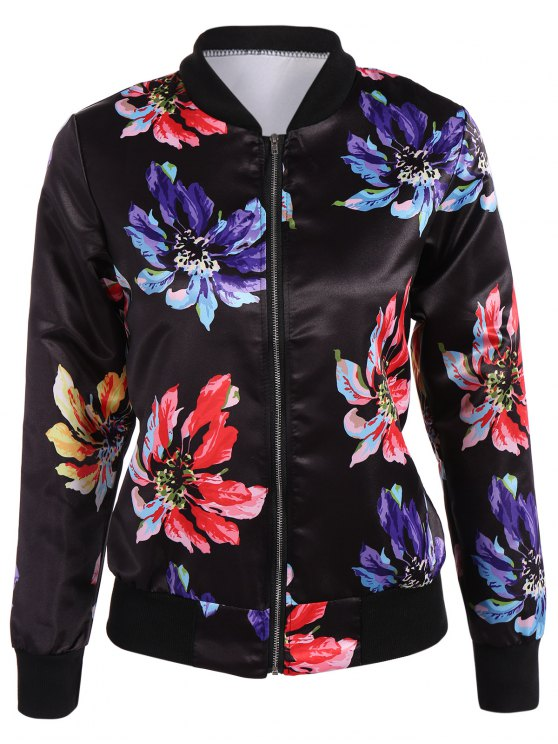 hot Zippered Floral Bomber Jacket - BLACK S