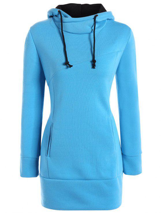 De cuello alto con capucha con cordón - Azul S