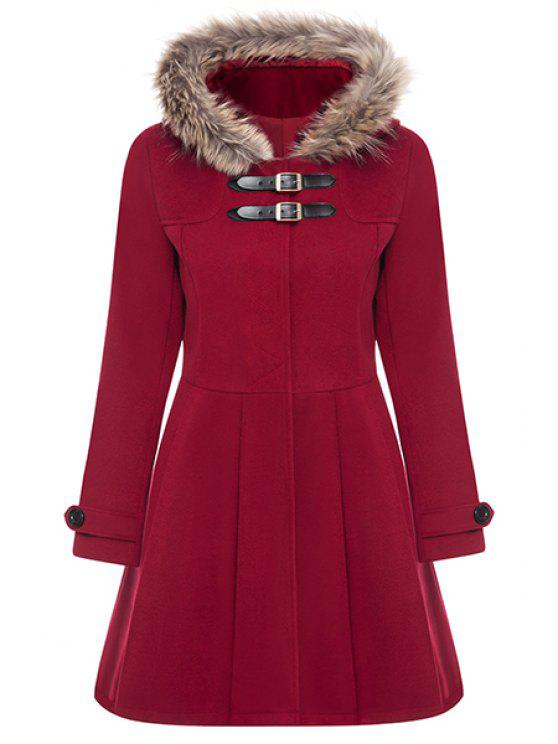 outfits A Line Wool Blend Hooded Coat - RED M