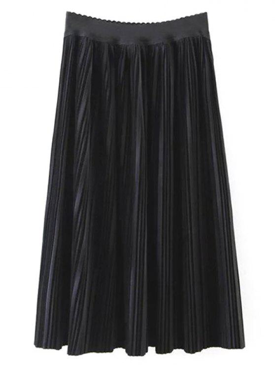 Terciopelo plisado maxi una falda de línea - Negro M