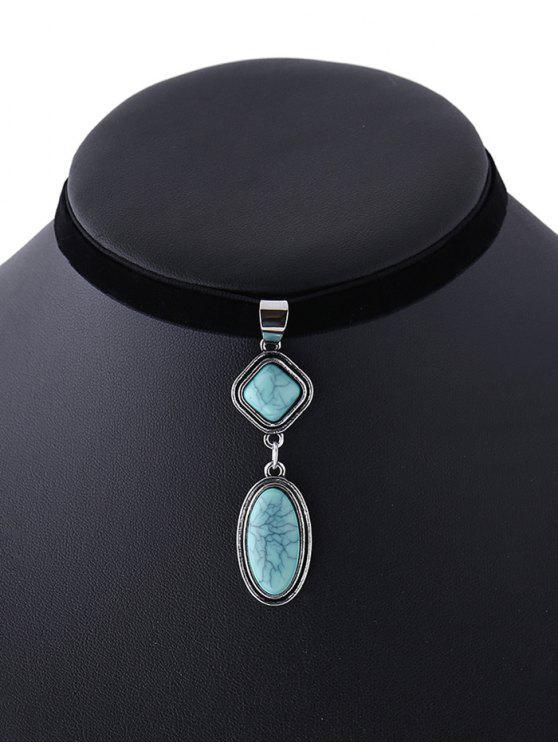 online Geometry Fake Gemstone Velvet Choker Necklace - BLACK