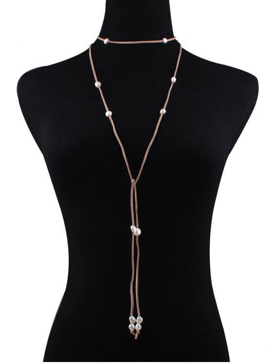 Collier en cuir faux orné perles fausses et nœud fantaisie de velours - Kaki
