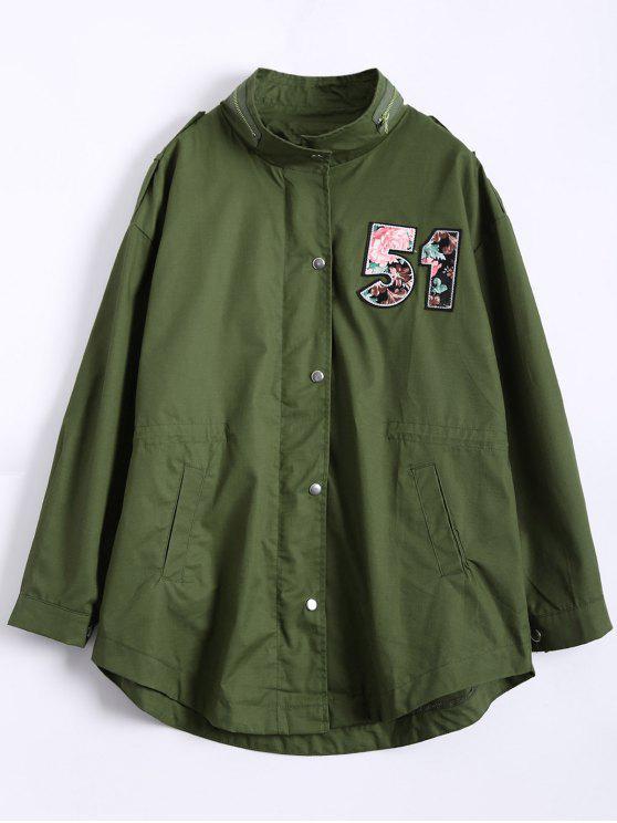 معطف الخندق عسكري الحجم الكبير ذو قطعة تصميم الرقم - الجيش الأخضر 3XL