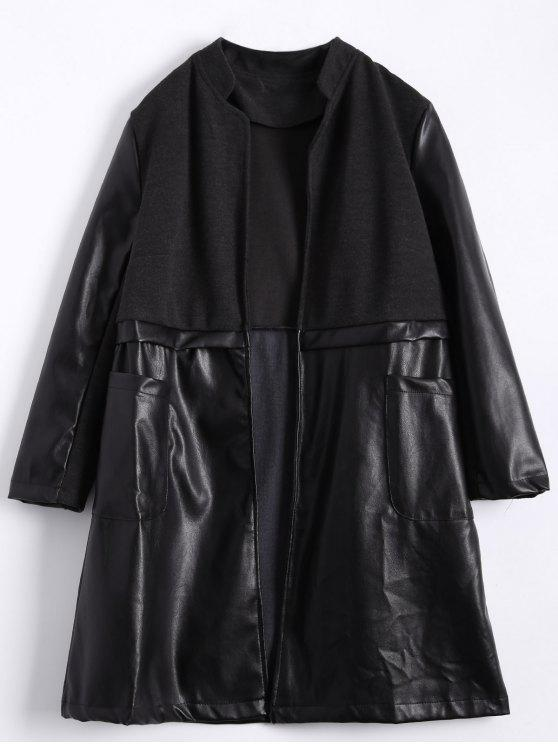 lady PU Leather Panel Plus Size Coat - BLACK 2XL