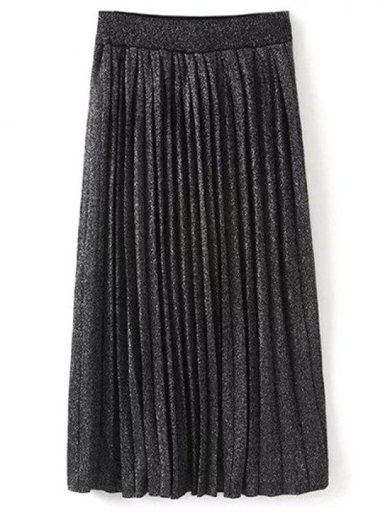 online Knitted Pleated Maxi Skirt - BLACK ONE SIZE
