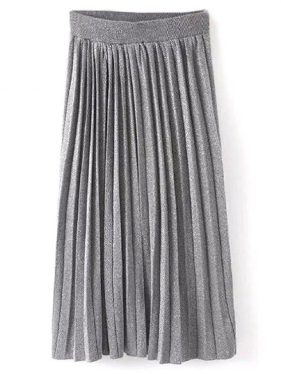 Maxi jupe forte hausse Plissé tricotée - Gris Taille Unique