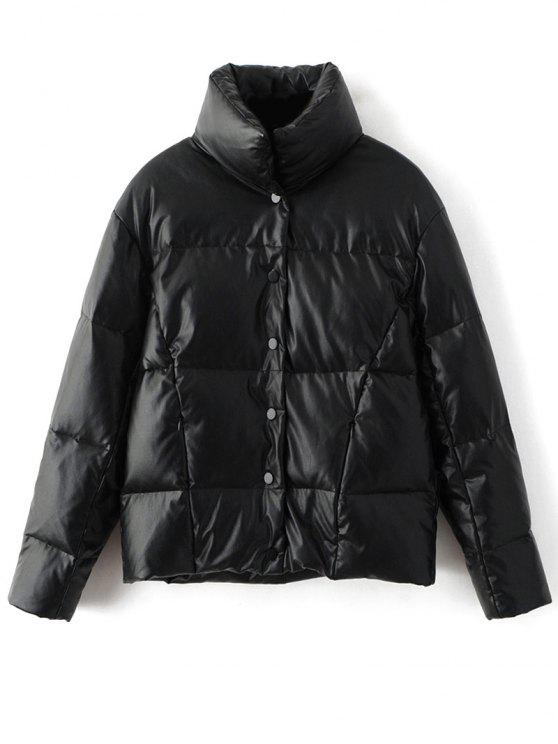 Botón rápido acolchada chaqueta abajo - Negro M