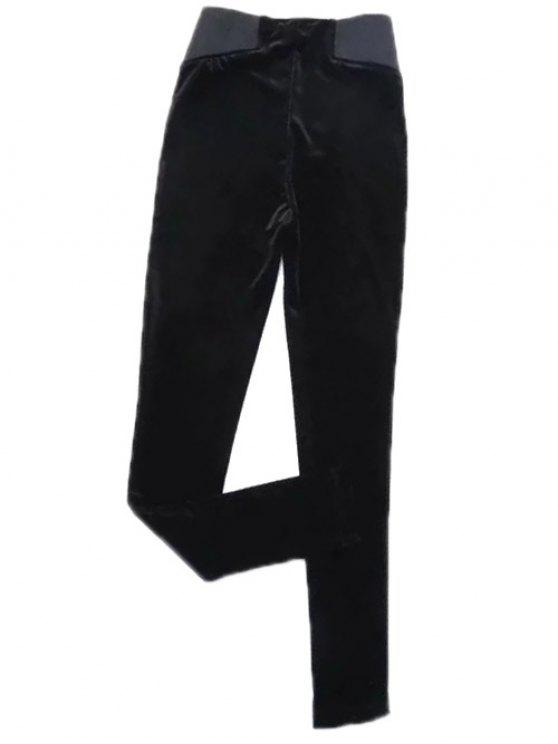 ladies Velvet Narrow Feet Pants - BLACK S