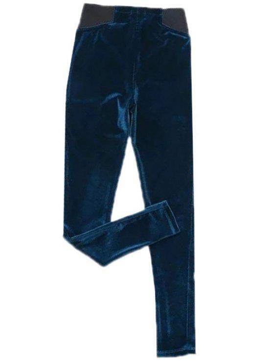 lady Velvet Narrow Feet Pants - DEEP BLUE M