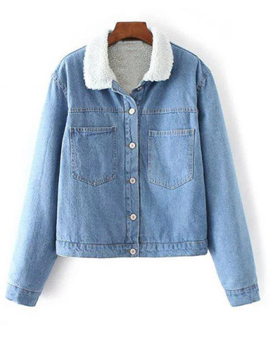 ladies Turndown Collar Faux Shearling Cropped Denim Coat - LIGHT BLUE S