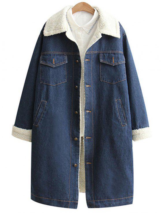 women's Loose Lamb Wool Denim Coat - BLUE S